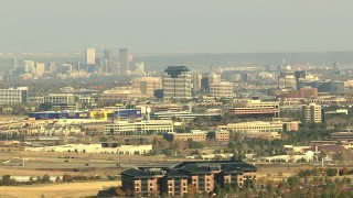 HDA13_274 - HD stock footage aerial video the Downtown Denver skyline and office high-rises, Colorado