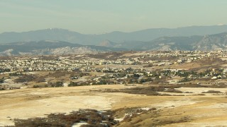 HDA13_275 - HD stock footage aerial video of hillside residential neighborhoods in Castle Pines, Colorado
