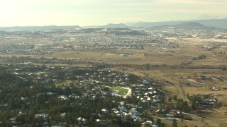 HDA13_280 - HD stock footage aerial video of a suburban neighborhoods in Castle Pines, Colorado
