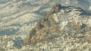 HDA13_295 - HD stock footage aerial video of mountain with light snow in the Rocky Mountains, Colorado