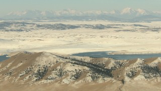 HDA13_308 - HD stock footage aerial video approach mountains and lake in Park County, Colorado