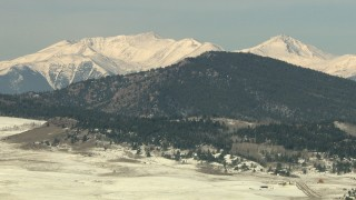 HDA13_319 - HD stock footage aerial video of snowy peaks in the Rocky Mountains, Park County, Colorado