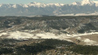 HDA13_323 - HD stock footage aerial video of approach a mountain ridge in the Rocky Mountains, Colorado