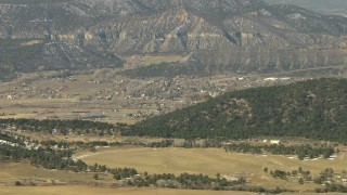 HDA13_344 - HD stock footage aerial video of approaching a small mountain town in Ridgway, Colorado