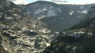 HDA13_352 - HD stock footage aerial video of snowy mountains in the Rocky Mountains, Colorado