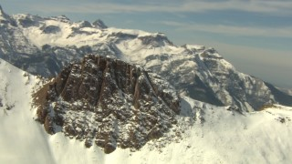 HDA13_377 - HD stock footage aerial video flyby snowy mountain ridges in the Rocky Mountains, Colorado