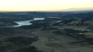 HDA13_399 - HD stock footage aerial video of the Ridgway Reservoir at sunrise, Colorado