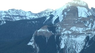 HDA13_402 - HD stock footage aerial video of a view of rugged Rocky Mountains with snow in Colorado