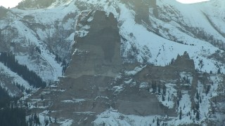 HDA13_403 - HD stock footage aerial video of a rocky formation at sunrise, Rocky Mountains, Colorado