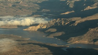 HDA13_416_01 - HD stock footage aerial video of the Middle Bridge and the Blue Mesa Reservoir at sunrise, Colorado