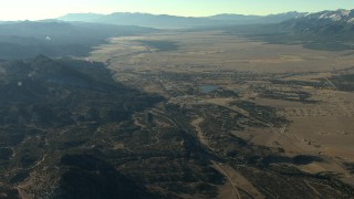 HDA13_453 - HD stock footage aerial video of the town of Buena Vista at sunrise beside mountains in Colorado