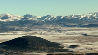 HDA13_459 - HD stock footage aerial video of the town of Fairplay at the base of Rocky Mountains, Colorado