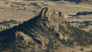 HDA13_470 - HD stock footage aerial video of a stony mountain peak in the Rocky Mountains, Colorado