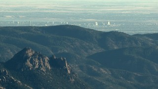HDA13_476 - HD stock footage aerial video of Centennial office buildings seen from the Rocky Mountains, Colorado