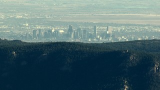 HDA13_477 - HD stock footage aerial video of the Denver skyline seen from the Rocky Mountains, Colorado