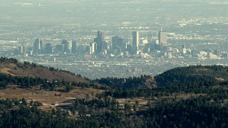 HDA13_482 - HD stock footage aerial video of a view of Downtown Denver from the Rocky Mountains, Colorado