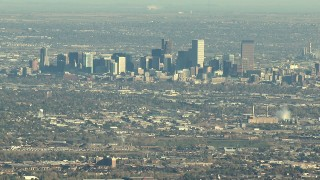 HDA13_483_02 - HD stock footage aerial video of the Downtown Denver skyline in Colorado