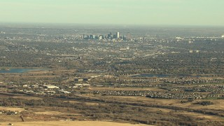 HDA13_483_03 - HD stock footage aerial video of Downtown Denver skyline and suburbs in Colorado