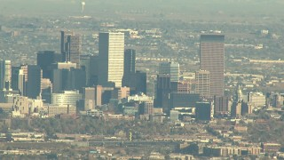 HDA13_485 - HD stock footage aerial video of Downtown Denver skyscrapers in Colorado