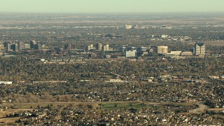 HDA13_486 - HD stock footage aerial video of office buildings and suburban neighborhoods in Centennial, Colorado