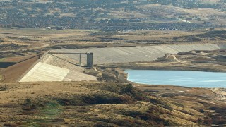 HDA13_487 - HD stock footage aerial video of a Rueter-Hess Reservoir in Parker, Colorado
