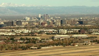 HDA13_488_01 - HD stock footage aerial video of Downtown Denver skyscrapers and Centennial office buildings in Colorado
