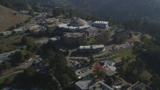 JDC01_009 - 5K stock footage aerial video fly away from the Advanced Light Source scientific facility, Lawrence Berkeley National Laboratory, Berkeley, California