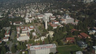 JDC01_010 - 5K stock footage aerial video flyby Sather Tower, University of California Berkeley campus, California