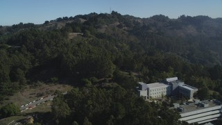 JDC01_013 - 5K stock footage aerial video approach hills above the Space Sciences Laboratory, University of California Berkeley