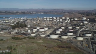 JDC01_017 - 5K stock footage aerial video of flying by the ConocoPhillips Oil Refinery, Rodeo, California