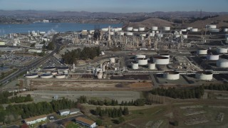 JDC01_018 - 5K stock footage aerial video of flying by the ConocoPhillips Oil Refinery, Rodeo, California