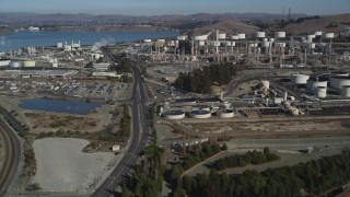 JDC01_019 - 5K stock footage aerial video flying by ConocoPhillips Oil Refinery, near San Pablo Bay, Rodeo, California