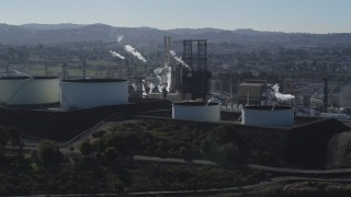 JDC01_024 - 5K stock footage aerial video of flying by the ConocoPhillips Oil Refinery, Rodeo, California
