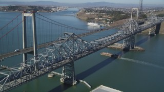 JDC01_031 - 5K stock footage aerial video of flying by both spans of the Carquinez Bridge, Carquinez Strait, Vallejo, California
