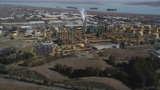 JDC01_034 - 5K stock footage aerial video of approaching the Valero Oil Refinery, Benicia, California