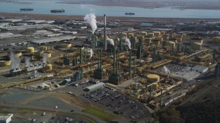 JDC01_035 - 5K stock footage aerial video of flying by the Valero Oil Refinery, Benicia, California