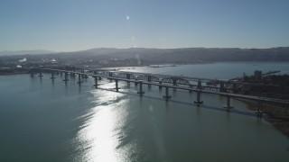JDC01_045 - 5K stock footage aerial video of Benicia-Martinez Bridge spanning Carquinez Strait, California