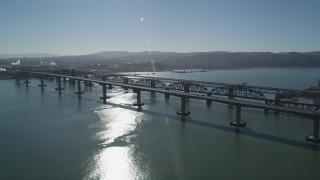 JDC01_046 - 5K stock footage aerial video approach Benicia-Martinez Bridge spanning Carquinez Strait, California