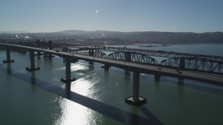 JDC01_047 - 5K stock footage aerial video flyby Benicia-Martinez Bridge spanning the Carquinez Strait, California