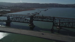 JDC01_048 - 5K stock footage aerial video flyby and pan across the Benicia-Martinez Bridge, Carquinez Strait, California
