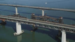 JDC01_049 - 5K stock footage aerial video of light traffic on the Benicia-Martinez Bridge over the Carquinez Strait, California