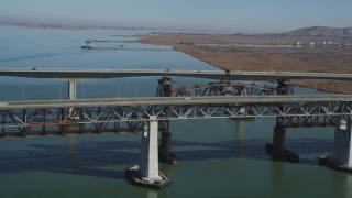 JDC01_050 - 5K stock footage aerial video of light traffic crossing both spans Benicia-Martinez Bridge, California