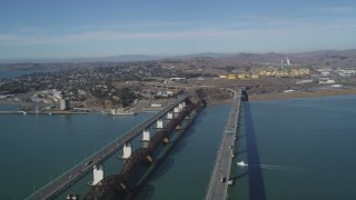JDC01_052 - 5K stock footage aerial video of flying by Benicia-Martinez Bridge near Valero Oil Refinery; Benicia, California
