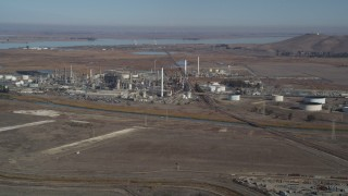 JDC01_056 - 5K stock footage aerial video of flying by the Tesoro Golden Eagle Refinery, Pacheco, California