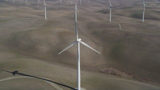 JDC01_064 - 5K stock footage aerial video approach and track a Shiloh Wind Power Plant windmill, Montezuma Hills, California