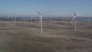 JDC01_066 - 5K stock footage aerial video of approaching Shiloh Wind Power Plant windmills, Montezuma Hills, California
