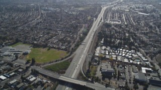 JDC01_088 - 5K stock footage aerial video of flying by freeway and suburban neighborhoods, Concord, California