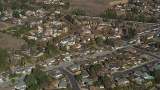 JDC02_002 - 5K stock footage aerial video of flying away from suburban tract homes, Pleasant Hill, California