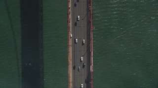 JDC02_020 - 5K stock footage aerial video of a bird's eye view over traffic on Golden Gate Bridge, San Francisco, California