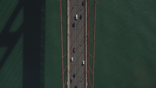 JDC02_021 - 5K stock footage aerial video of a bird's eye view of white and black cars on Golden Gate Bridge, San Francisco, California